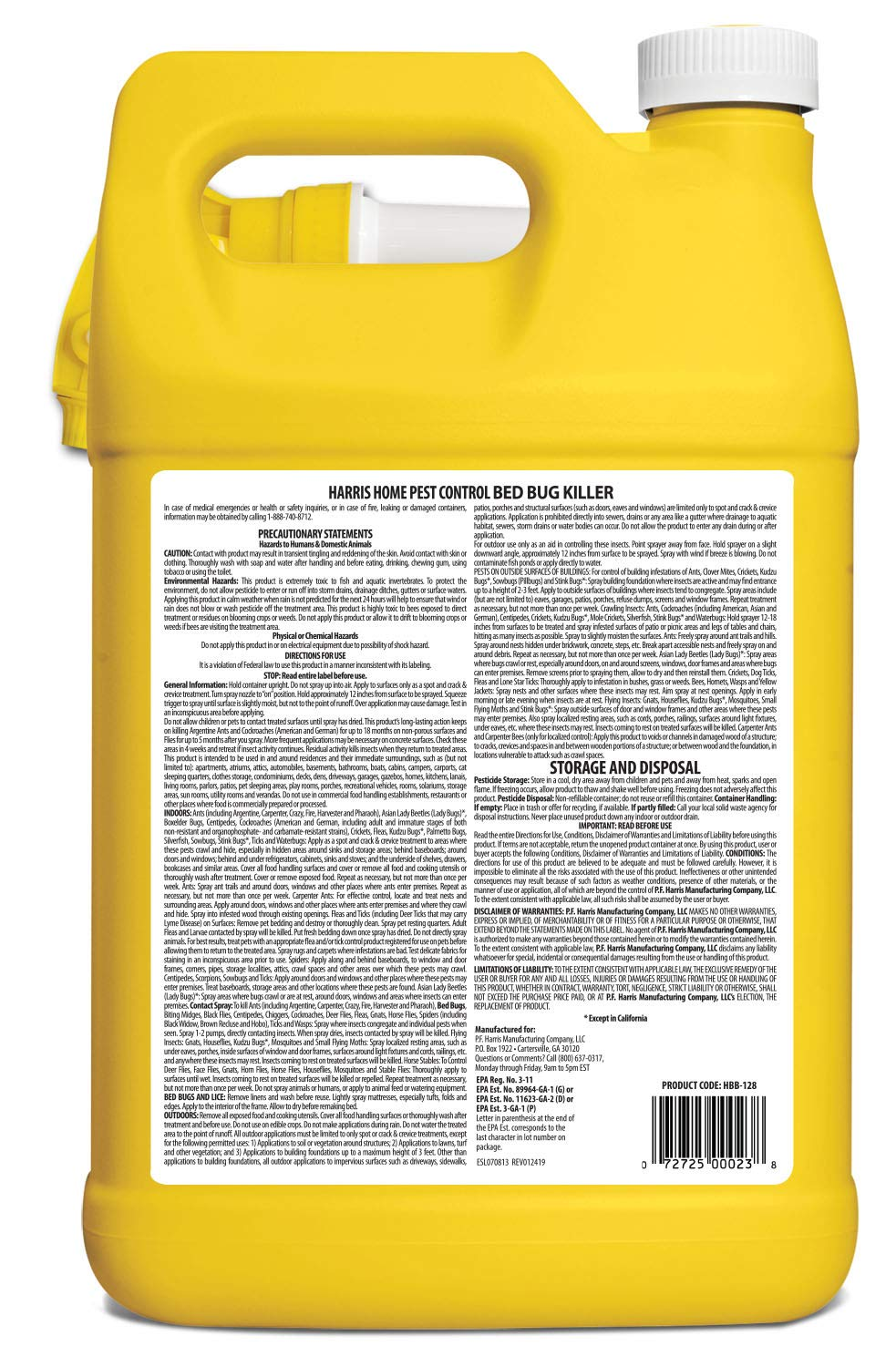 Back label for directions to use Harris bed bug killer spray