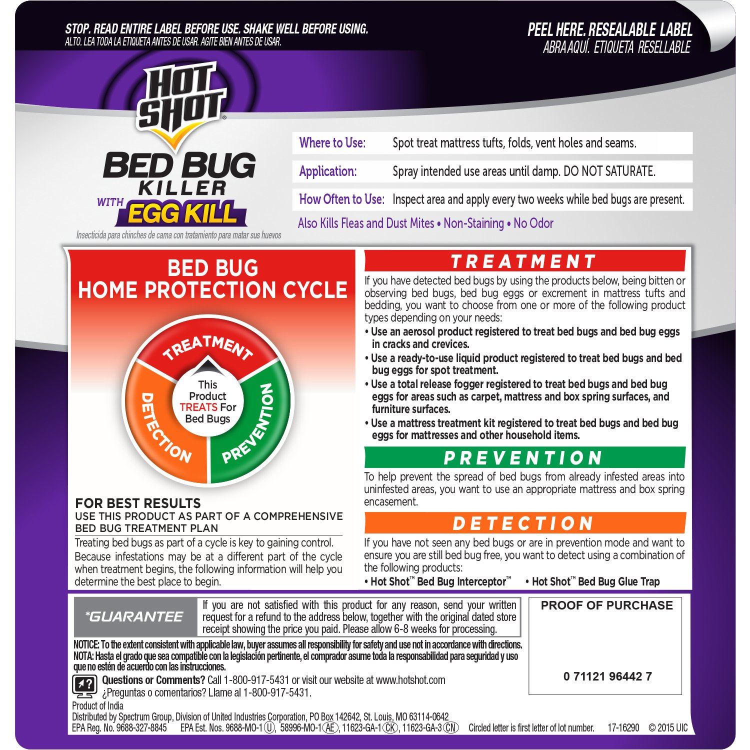 HOT SHOT BED BUG HOME PROTECTION CYCLE