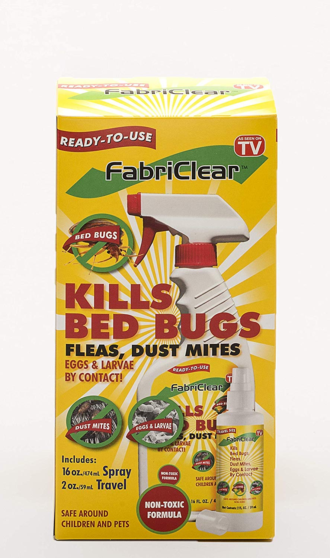 Box Of FabriClear Bed Bug, Dust Mite and Flea Killer Spray - Non-Toxic - 16oz Plus 2oz Travel Size