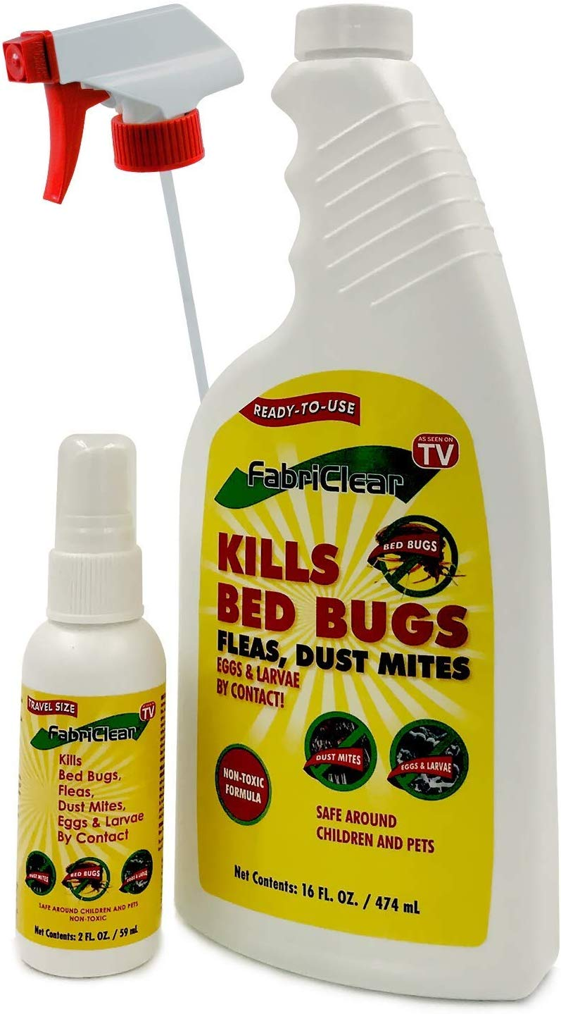 Sizes Of FabriClear Bed Bug, Dust Mite and Flea Killer Spray - Non-Toxic - 16oz Plus 2oz Travel Size