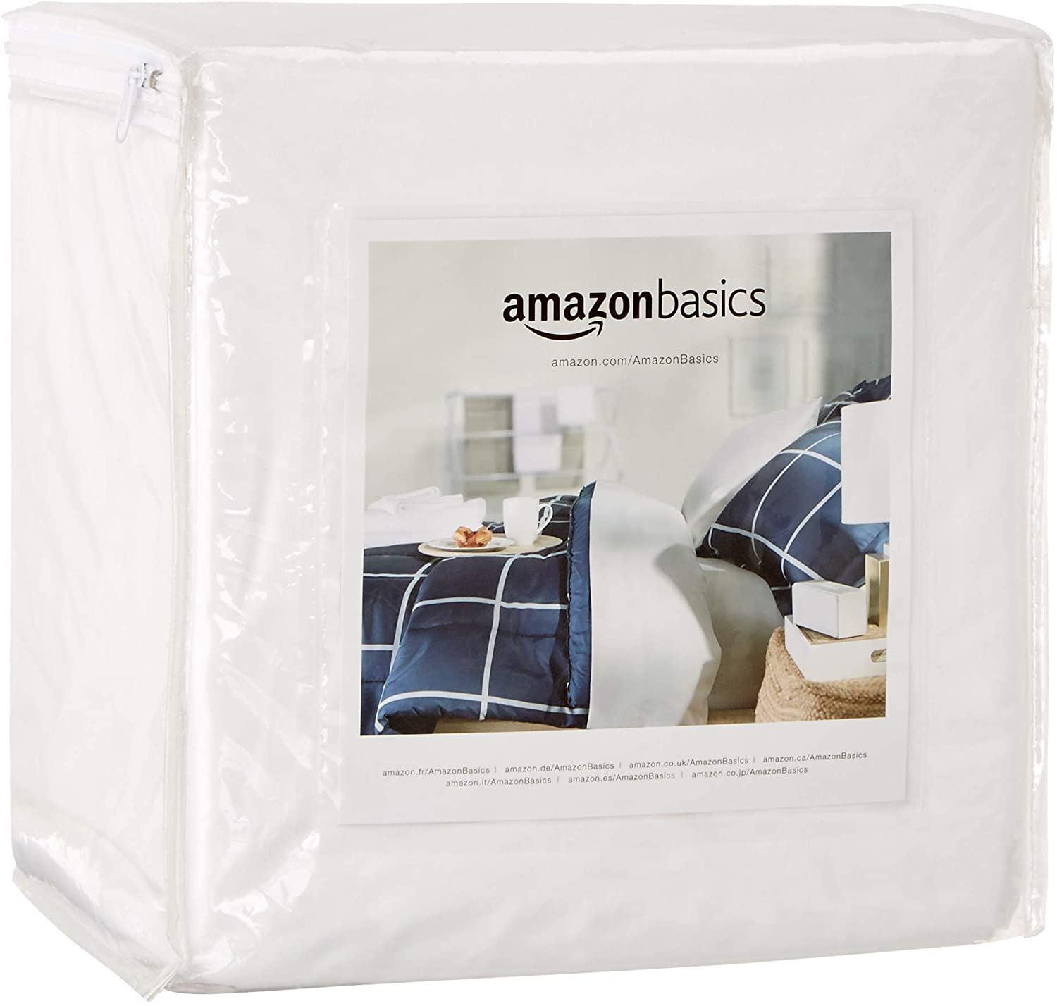 AmazonBasics Fully-Encased Waterproof Mattress Cover Protector, California King, Standard 12 to 18-Inch Depth