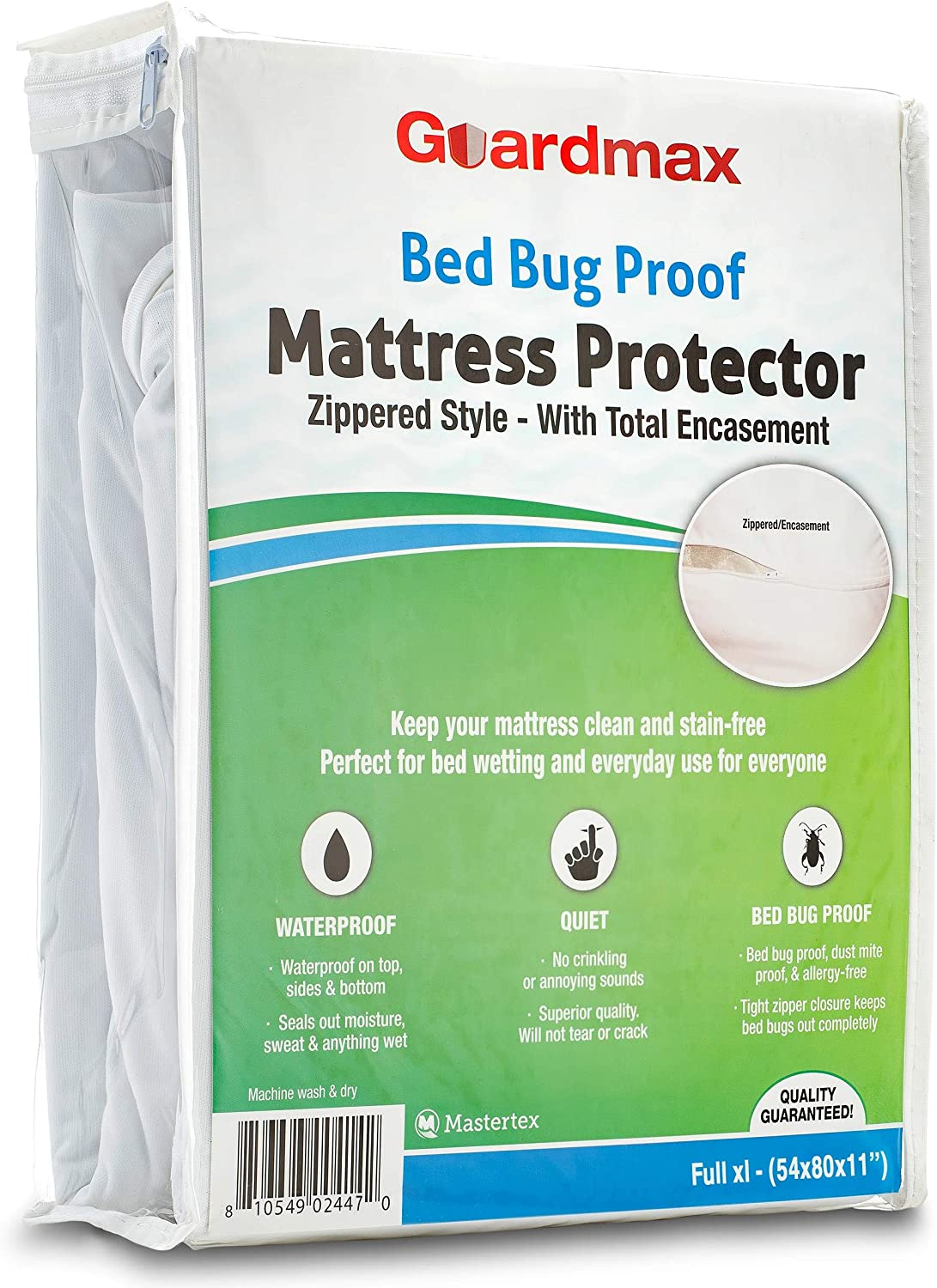 Guardmax Full Extra Long Mattress Protector Cover Zippered | 100% Waterproof Bed Bug Encasement | Soft, Hypoallergenic and Breathable | Full XL Size