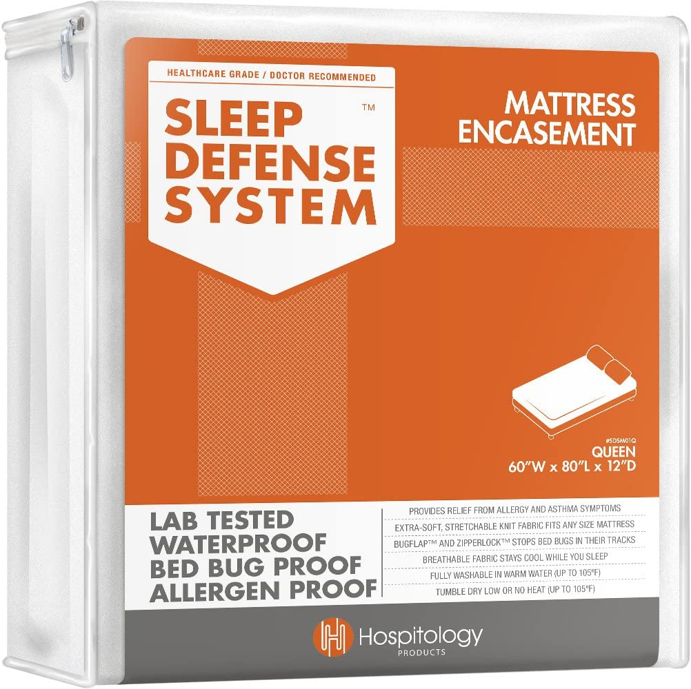 HOSPITOLOGY PRODUCTS Sleep Defense System - Zippered Mattress Encasement - Queen - Hypoallergenic - Waterproof - Bed Bug & Dust Mite Proof - Stretchable - Standard 12