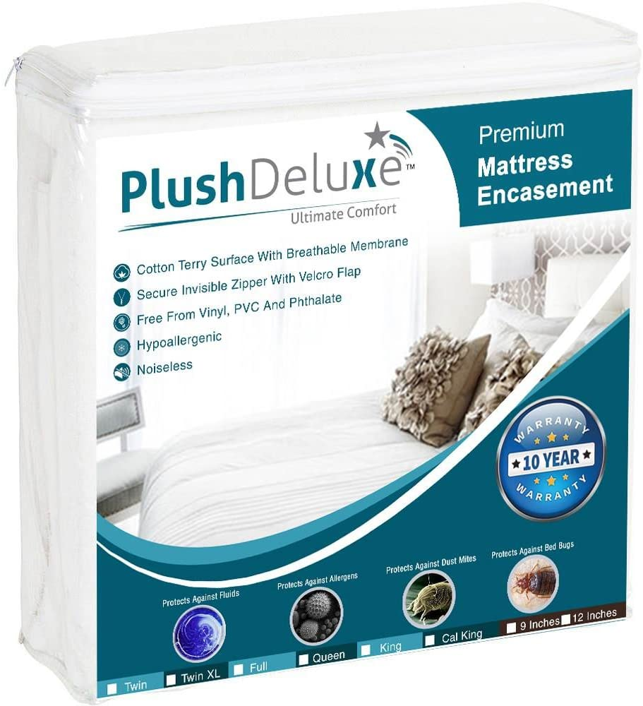 PlushDeluxe Premium Zippered Mattress Encasement, Waterproof, Bed Bug & Dust Mite Proof 6-Sided Protector Cover, Hypoallergenic Cotton Terry Surface (Fits 9-12 Inches H) Twin XL, 10-Year Warranty
